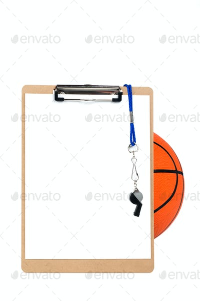 Clipboard and basketball