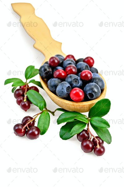 Blueberries and cowberry in a spoon with leaf