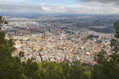 Jaen aerial view. Traditional town in Andalucia. Spanish cultural heritage