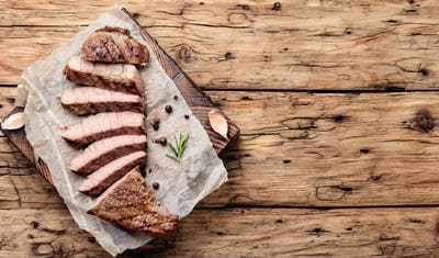 Beef steak on a wooden background