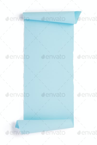 curved or scrolled paper isolated at white