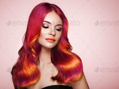 Beauty fashion model woman with colorful dyed hair