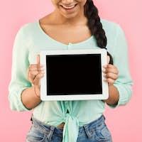 Mockup. Girl showing blank tablet screen, crop