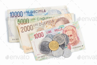 Banknotes from Italy. Italian lira and metal coins