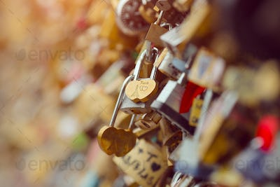Love locks in Paris France bridge