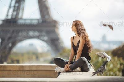 Beautiful Young Tourist Girl Near the Eiffel Tower, Paris