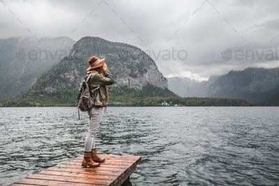 Young woman by the lake