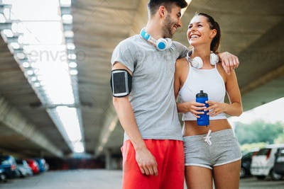 Fitness training for young couple in love