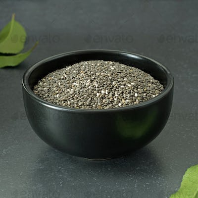 Chia Seeds in a Black Bowl