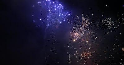 Firework. Celebratory bright firework in a night sky