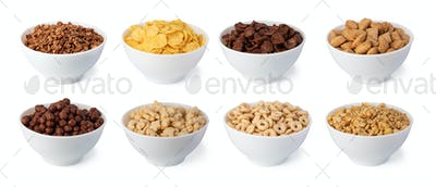 cereal flakes on white background