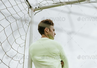 Football goalkeeper waiting for the match to begin