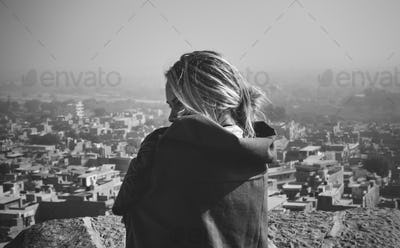 Western woman exploring Jaisalmer Fort, Rajasthan, India
