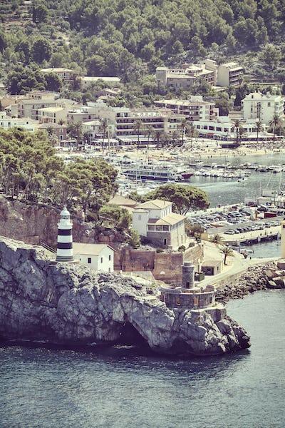 Retro toned picture of Port de Soller, Mallorca.