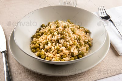 Bowl of traditional Risi e Bisi from the Veneto