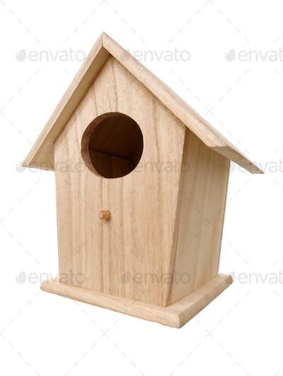 Wooden bird nesting box