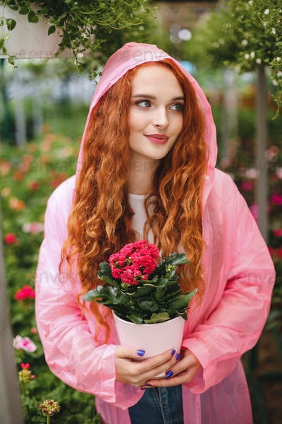 Young beautiful lady with redhead curly hair standing in pink raincoat and holding flower in pot