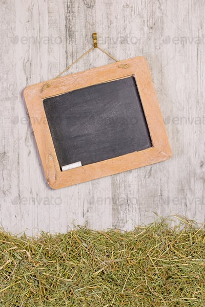 A Blank Chalkboard and Straw Grass