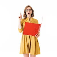 Pretty lady in eyeglasses and yellow dress holding red folder while amazedly looking in camera