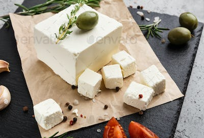 Homemade greek cheese concept