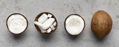 Fresh whole and chopped coconuts