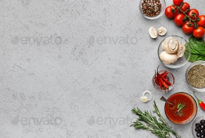 Ingredients for cooking pizza, vegetables and herbs