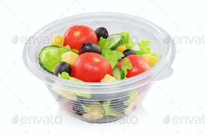 Vegetable salad in container isolated