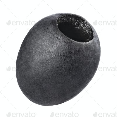Pitted black olive isolated