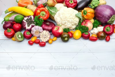 Heap of fresh fruits and vegetables.