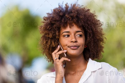 Outdoor portrait of a Young black African American young woman s