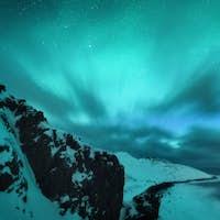 Amazing aurora borealis. Northern lights in Teriberka, Russia