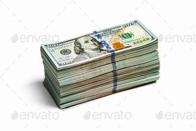 Stack of new 100 US dollars 2013 edition banknote