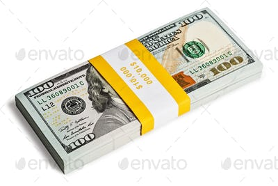 Bundle of 100 US dollars 2013 edition banknotes