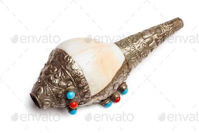 Tibetan Buddhist Conch Shell Horn Dung-Dkar