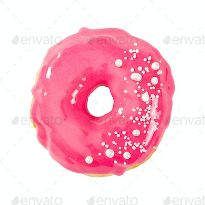 Donut with pink glossy mirror glaze isolated on white