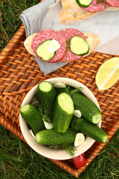 Homemade fresh salted cucumbers and sandwiches with sausage