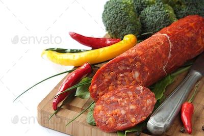 Spanish chorizo sausage with chili peppers and broccoli