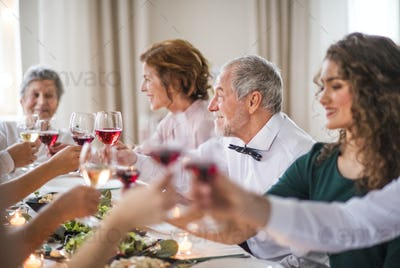 A big family sitting at a table on a indoor birthday party, clinking glasses.