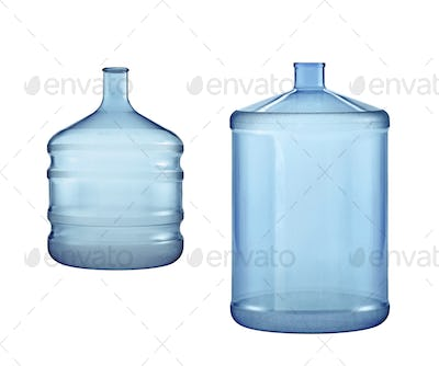 Big water bottles isolated on white background