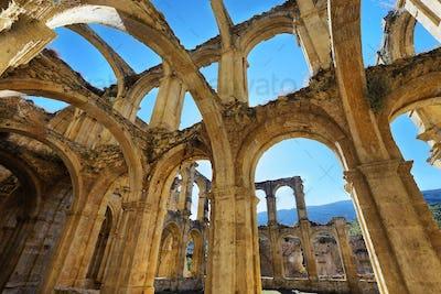 Ruins of an ancient abandoned monastery in Santa Maria de rioseco, Spain