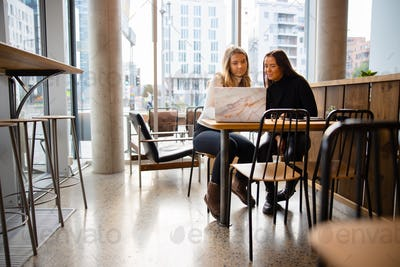 Female students working on common homework project at modern coffee shop