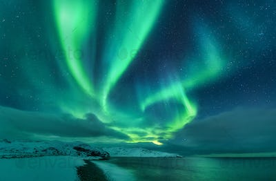 Aurora borealis over ocean. Northern lights