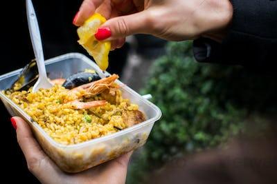 Street food Spanish seafood paella
