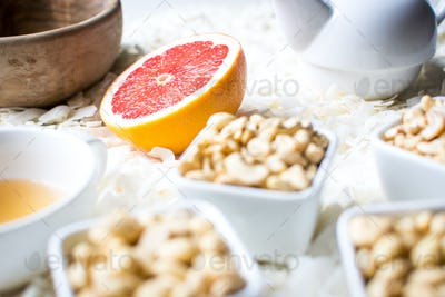 Healthy paleo snack with nuts and tea
