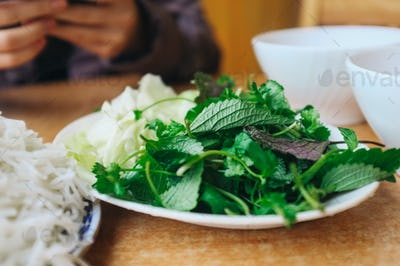 Vietnamese perilla herb with noodles