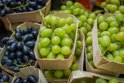 Packets of fresh grapes