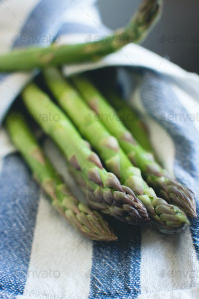 Asparagus wrapped in cloth