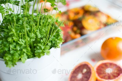 Pot of vibrant green fresh parsley with blood oranges
