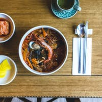 Korean spicy seafood soup with king prawns