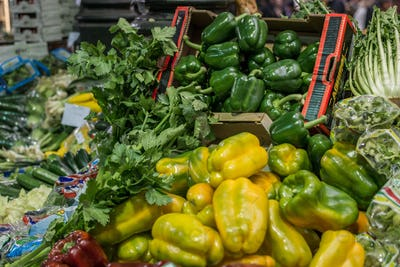 Yellow and green bell peppers for sale